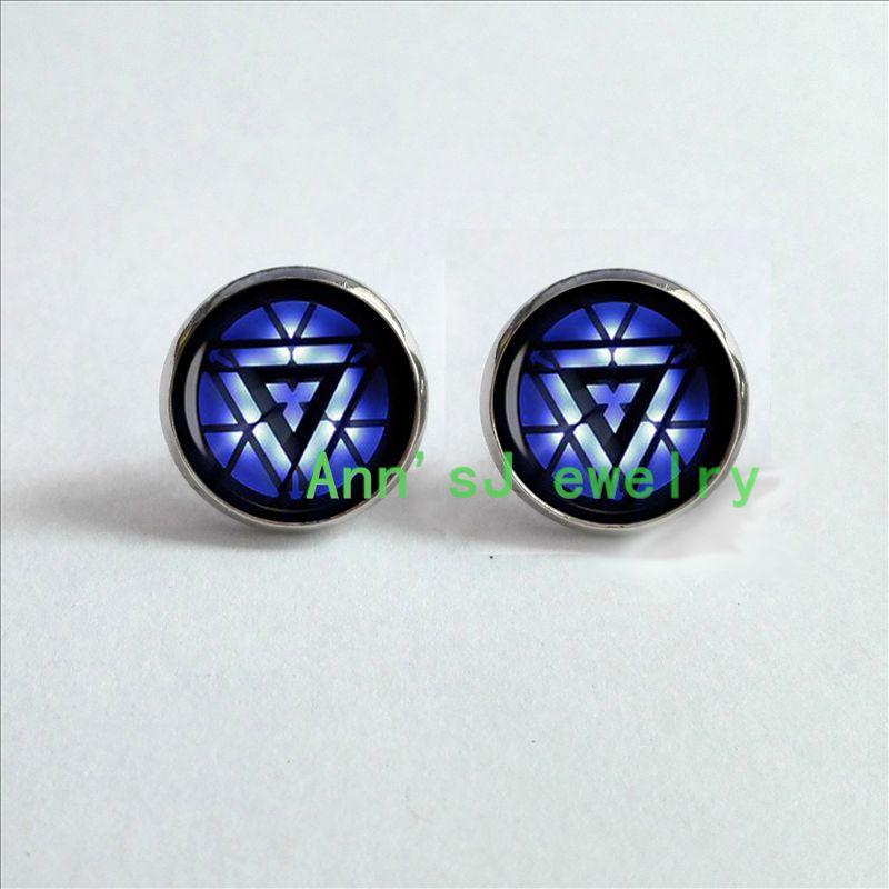 HZ4-00315 Hero Symbol stud earrings Iron Man Arc ear nail reactor super hero geekery jewelry glass Cabochon