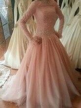 2016 Arabic islamic wedding Dresses Hijab Long Sleeve Muslim Unique Blush Pink Colorful Wedding Gowns Kaftan