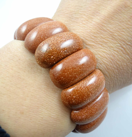 Natural Gold sand stone bracelet energy Bangles Stretch Chain Natural Stone inradius chunky Bracelets Jewelry  P25