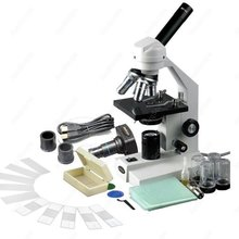 Buy online Student School-AmScope Supplies 40X-1600X Compound Microscope + USB Digital Camera + Slides SKU: M500A-P-PB10