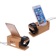 For Apple Watch 38&42mm/For Huawei Watches Wood Bamboo Station Charging Dock Cradle Stand Holder For iPhone 6S 7 PLUS/S5 Neo S7