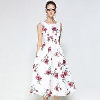Women Rose Printed Dresses Sleeveless Summer Fashion Roupas Feminima Green Floral Dress White High Waist Vestido