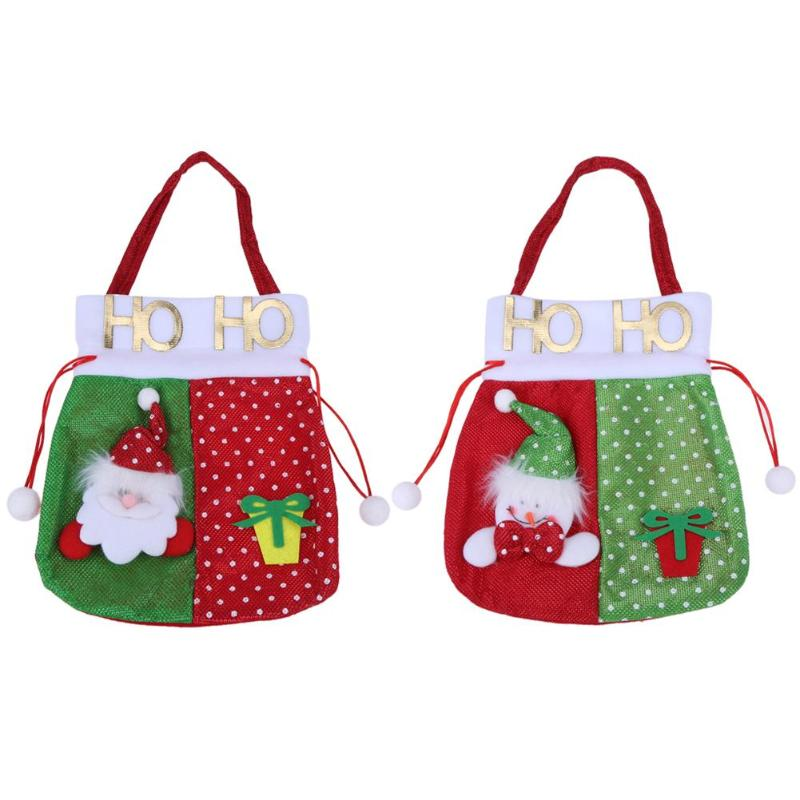 Christmas Candy Small Gift Bag Santa Claus Snowman Elk Bear Xmas Decor