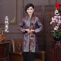 Hot Sale Gray Chinese Tradition Women's Flocking Lengthen Coats Dust Coat Trench Vintage Tang Suit Size M L XL XXL 3XL