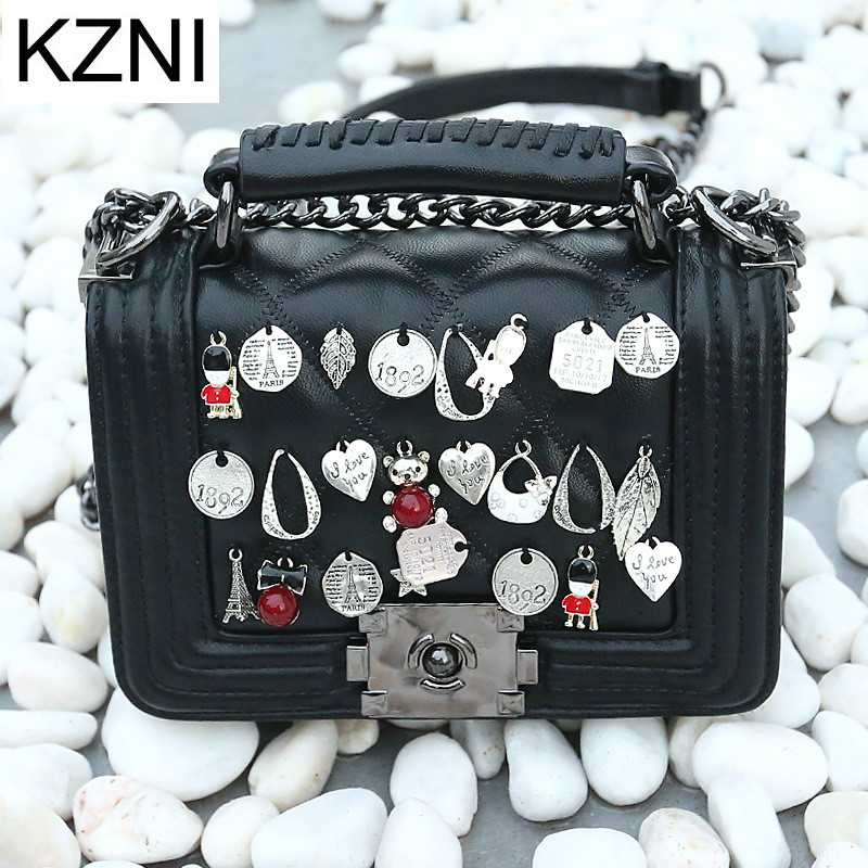 KZNI Genuine Leather Bags for Women Small Bag Designer Handbags High Quality Purses and Handbags Sac a Main Femme Pochette 7028 kzni real leather tote bag high quality women leather handbags top handle bags purses and handbags bolsa feminina pochette 9057