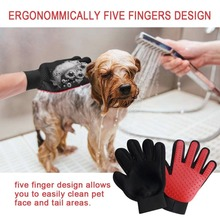 Dropshippng Cat Grooming Gloves Dog Hair Remover Gentle Deshedding Brush Comb Tool Pet Massage Mitt with Enhanced Long/Short Fur