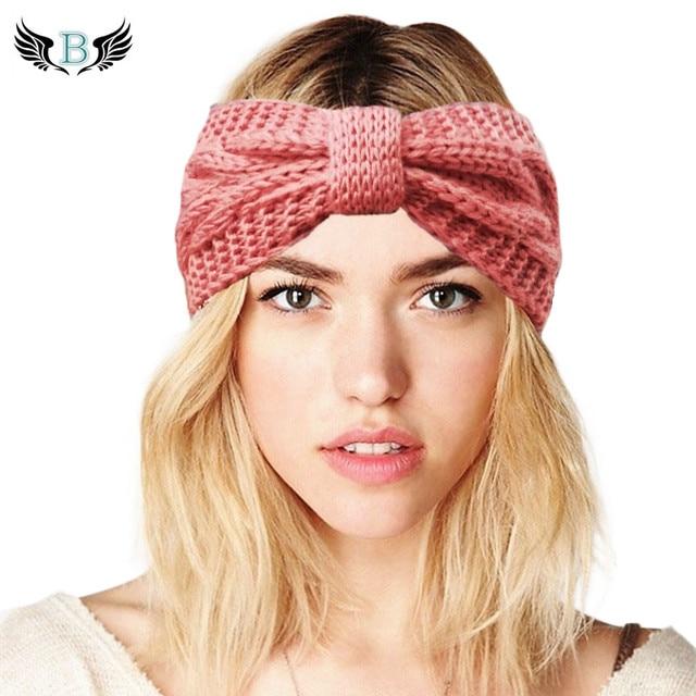для женщин вязаная повязка с бантиком вязаный крючком зимние теплые