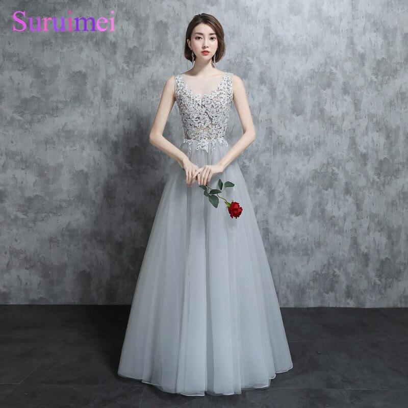 Real Photo 2018   Bridesmaid     Dresses   Silver Gray O Neck Floor Length Applique Tulle Sheer Illusion Vestidos Long Brides Maid   Dress