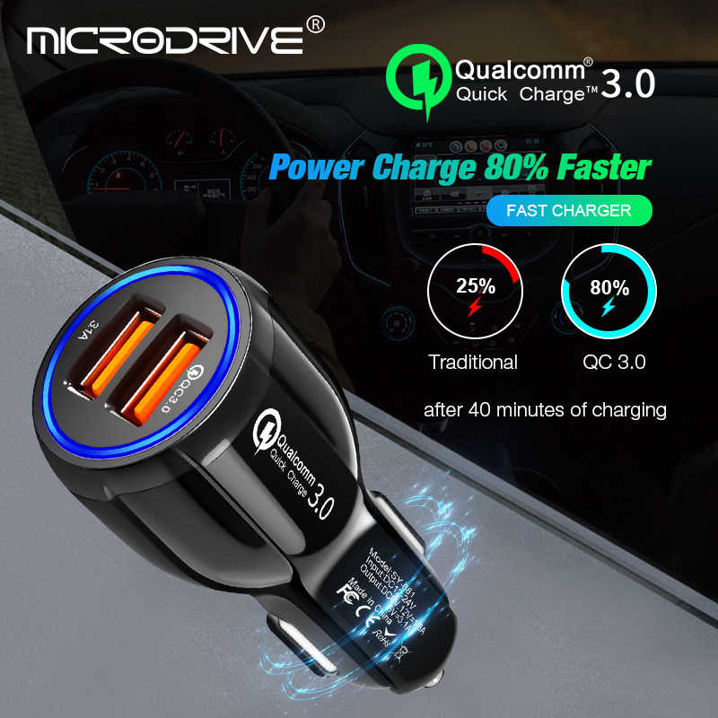 سريع تهمة 3.0 شاحن سيارة المحمولة 5 V 3.1A سريع شحن GPS المزدوج USB سيارة-شاحن آيفون سامسونج باد مزدوجة شاحن يو اس بي