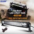 Oslamp 405 W 32 pulgadas curvada Barra de luz LED tri-fila Combo Beam LED luz de trabajo Bar Offroad para camión SUV 4x4 barco 4WD Pickup 12 V 24 V