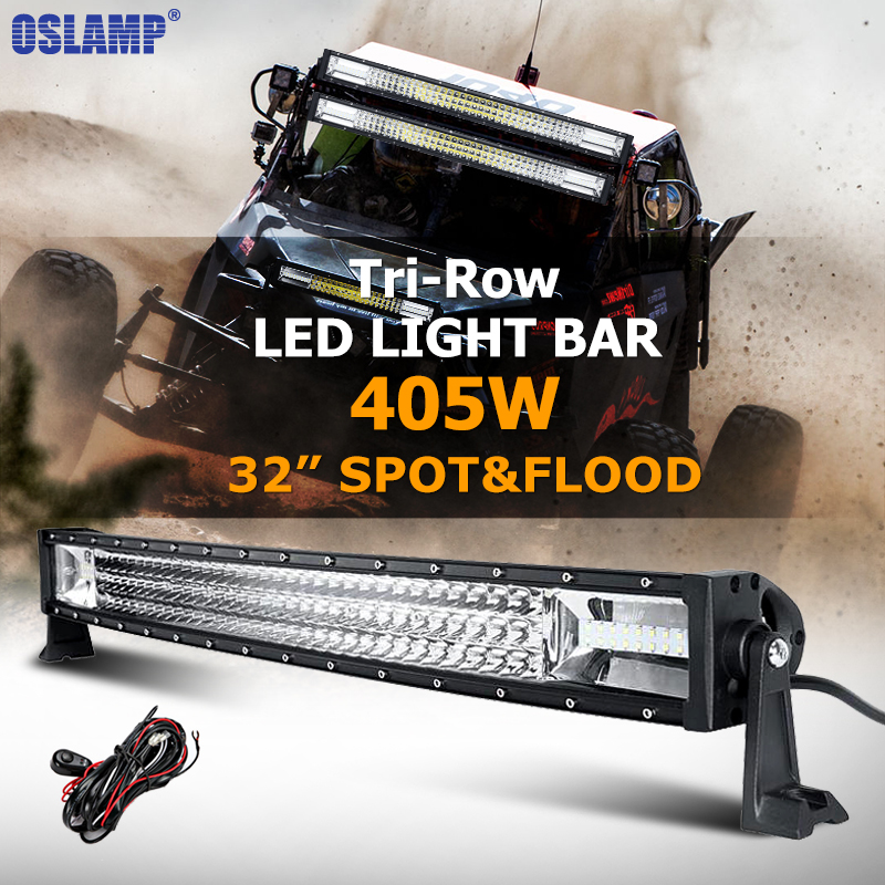 Oslamp 405W 32inch Curved LED Light Bar Tri-row Combo Beam LED Work Light Bar Offroad for Truck SUV 4x4 Boat 4WD Pickup 12v 24v