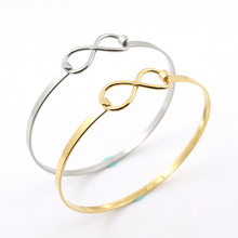 New Adjustable Silver Wire Love Heart Bangles DIY Stainless Steel Wiring Infinite Bangle Bracelet for women Lucky 8 Fine Jewelry