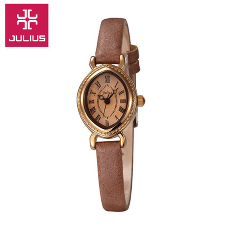 Top Mini JULIUS Women's Watch Japan Quartz Lady Hours Fine Fashion Bracelet Band Leather Clock Oval Retro Girl's Gift Box auto date homme men s watch japan quartz hours fine fashion dress clock retro bracelet leather business father s day gift
