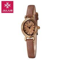 Top Mini de Las Mujeres de JULIO Reloj Del Cuarzo de Japón de la Señora Horas Banda de Cuero Reloj de Pulsera de Moda Fina Oval Retro de la Muchacha Caja de regalo