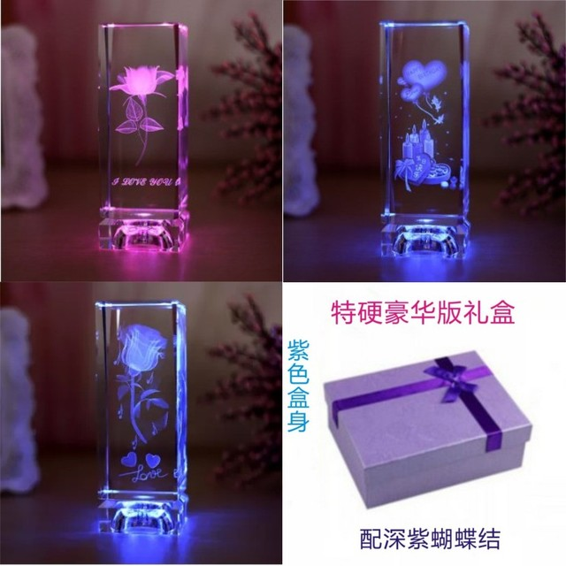 3D Crystal Engraving Rose Teachers Day Birthday Small Gift Items To Send Men And Women