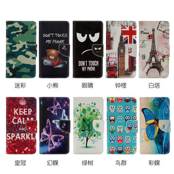 Funny Patterned Cartoon Cute PU Leather Flip Cover Phone Case For Sony Xperia XZ1 Compact (4.6inch) Wallet Case With Magnet  GX1