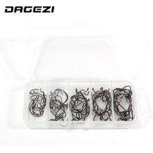 DAGEZI 5 size High carbon Steel Fishing Hooks 50pcs/lot(10pcs in each size) Crank Lead Sharp Hooks with box