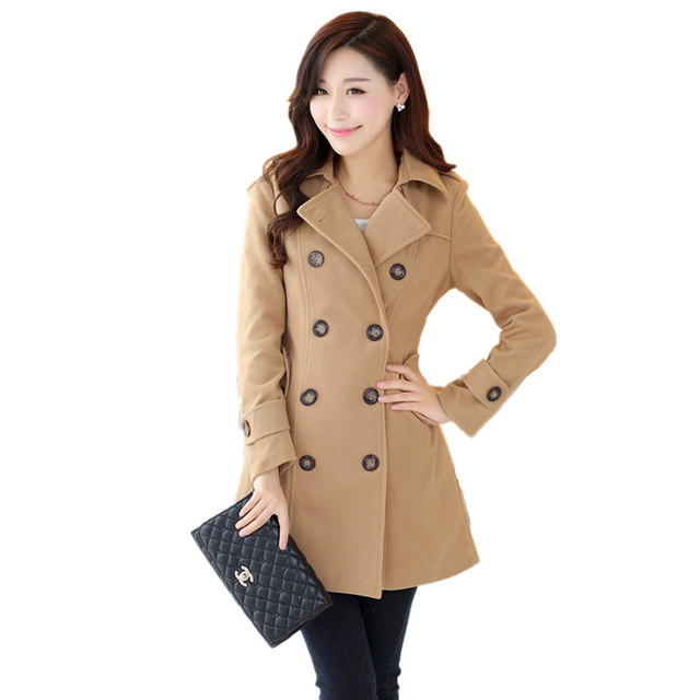d902c242ff spring and autumn women's lapel collar Double-breasted long wool coat female  slim plus size trench coat women woolen outerwear