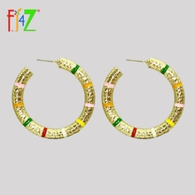F.J4Z Brand Designer Women Hoop Earrings Fashion Alloy Colorful Oil Strips T-Show Accessories Brincos