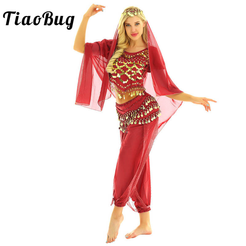 TiaoBug Women Halloween Carnival Stage Performance Egypt Belly Dance Costume Bollywood Indian Dancing Dress Chiffon Sari Set