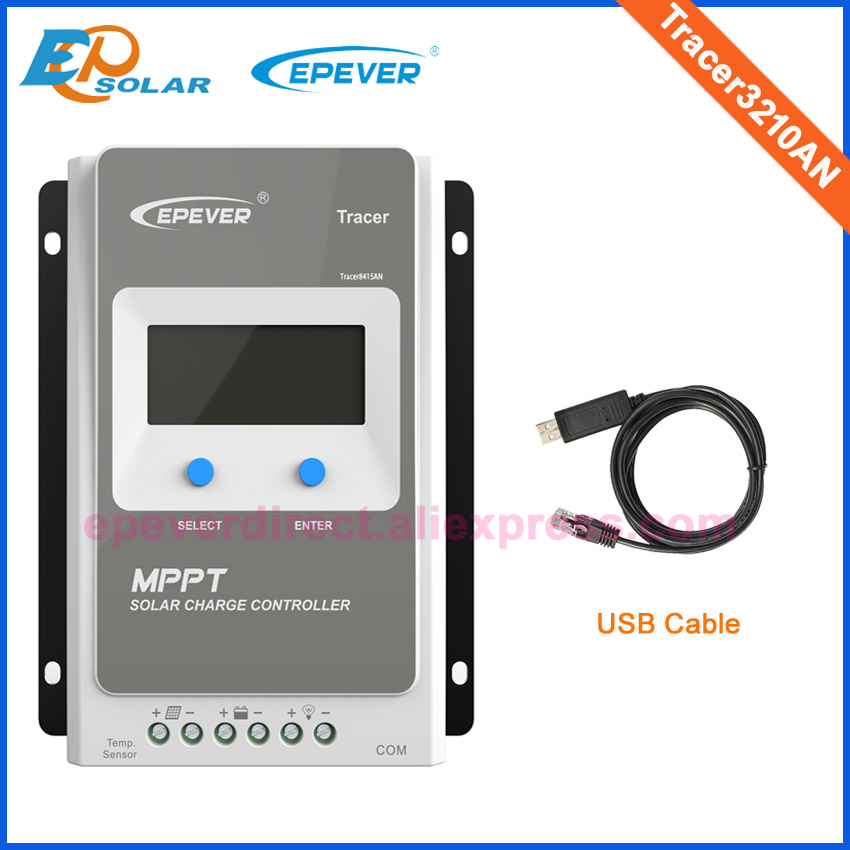 EPEVER MPPT Solar 12V/24V auto work Solar Power Bank Controller Tracer3210AN 30A 30amp USB cable Connect with PC lcd display 12v 24v auto work solar power bank regulators with usb cable and wifi box connect function tracer4210a mppt free shipping