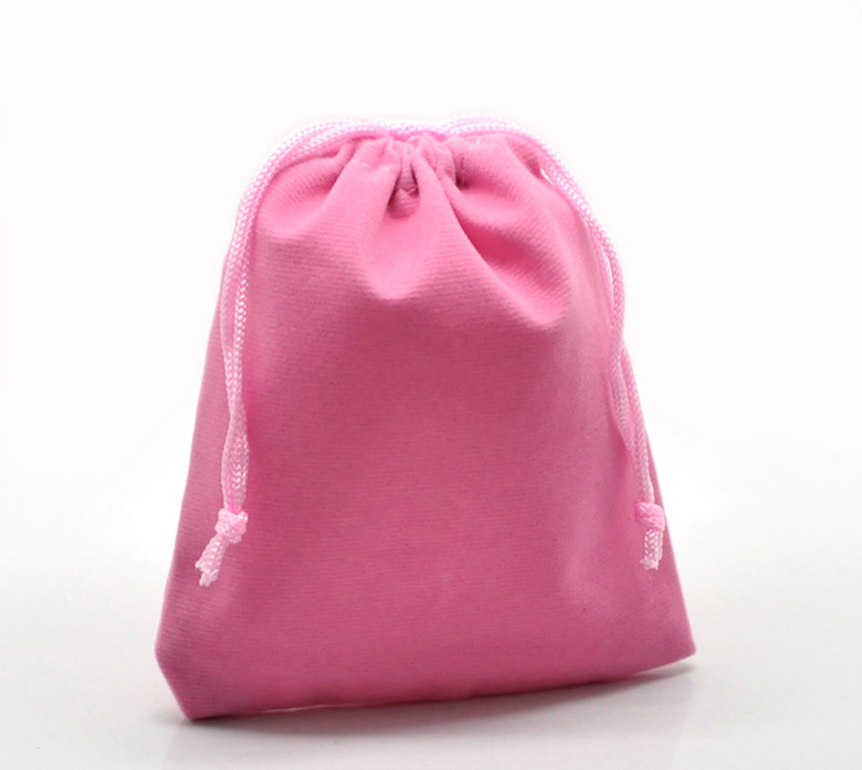 Doreen Box Hot-  10PCs Pink Velvet Drawstring Pouches Jewelry Gift Bag 12x10cm(4 6/8