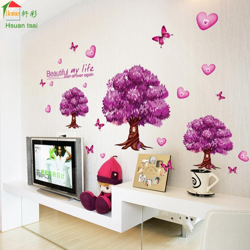 Purple Pollen Removable Wall Art Decal Sticker Diy Home: Aliexpress.com : Buy Purple Butterfly Tree DIY Vinyl Wall