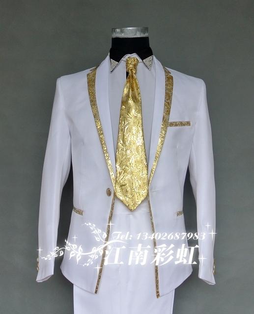 (Chaqueta + pantalones) traje traje masculino traje de boda demostración de la etapa de estudio trajes para hombre partido cantante bailarina discoteca estrella rendimiento