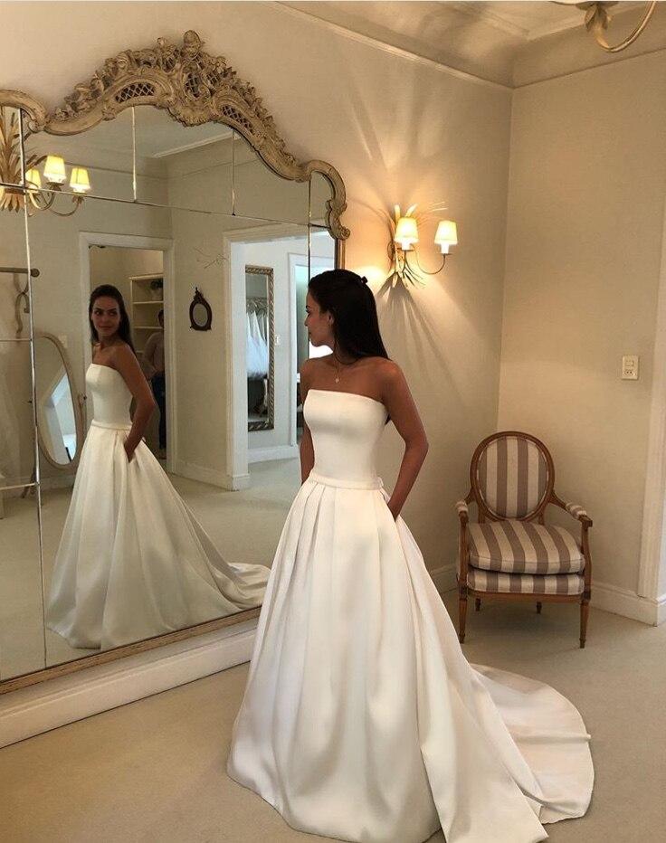 Nouvelles robes De mariée en Satin élégant Boho robe De mariée Simple sans bretelles arc ceintures Vestidos De Noiva robes De mariée pas cher