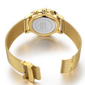 Image 5 - MEGIR كرونوغراف للرجال كوارتز ساعة سليم شبكة سوار فولاذي ساعات رجالية الذهب عادية الأعمال التجارية الذكور ساعة المعصم MG2011