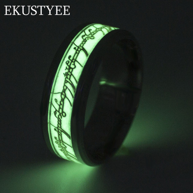 jewelry new of rings finger glowing steel stainless lord fluorescent pattern glow the logo ring wedding product dark in luminous silver jesus gold