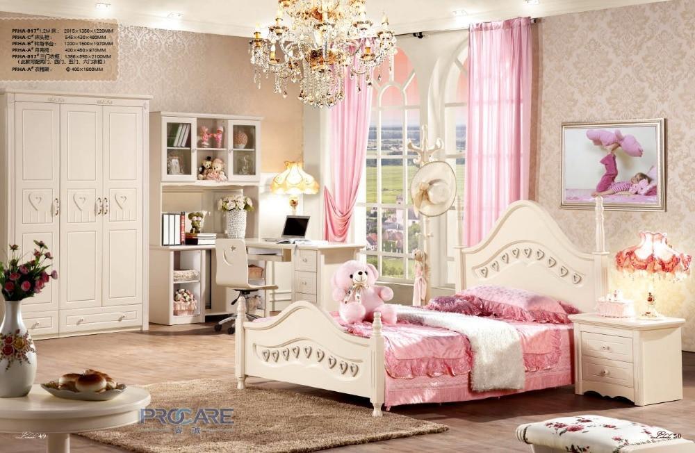 ยุโรปเจ้าหญิงไม้ชุดเฟอร์นิเจอร์ห้องนอนสำหรับเด็ก เด็ก หญิง