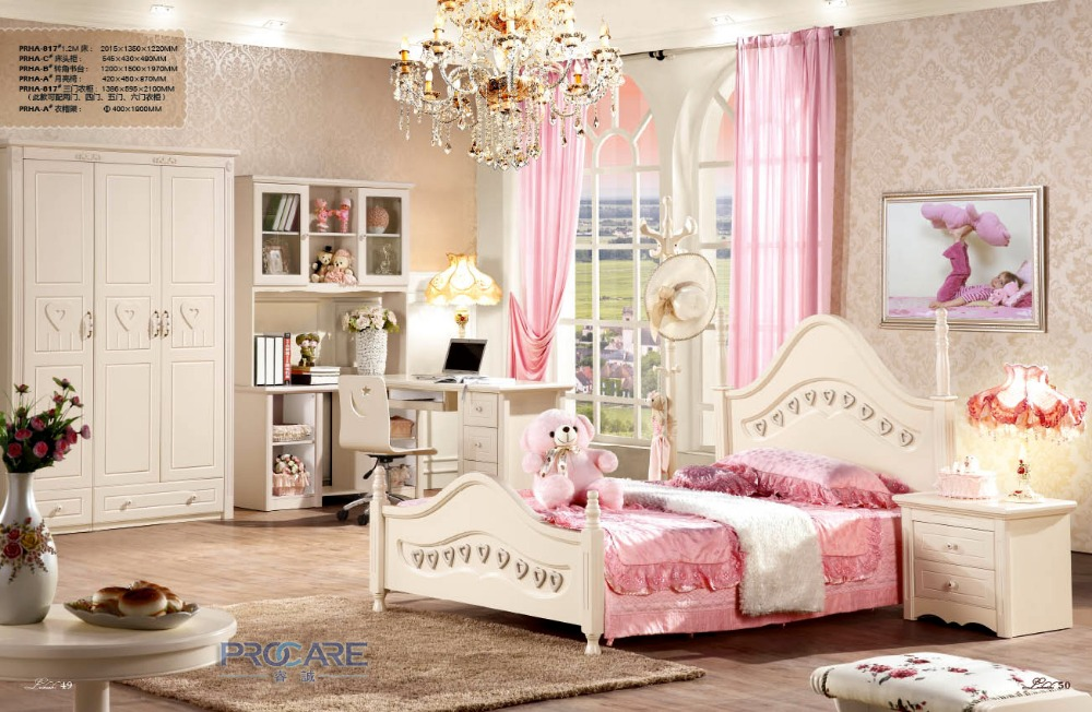 European Princess Wooden Bedroom Furniture Set For Kids Children Girls With 1 2m Bed Computer Desk Beside Table Wardrobe Prf817