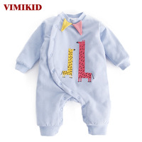 VIMIKID Baby Girls Boys Clothing Romper 2017 Winter Long Sleeved Cotton Single Breasted Cartoon Image Children