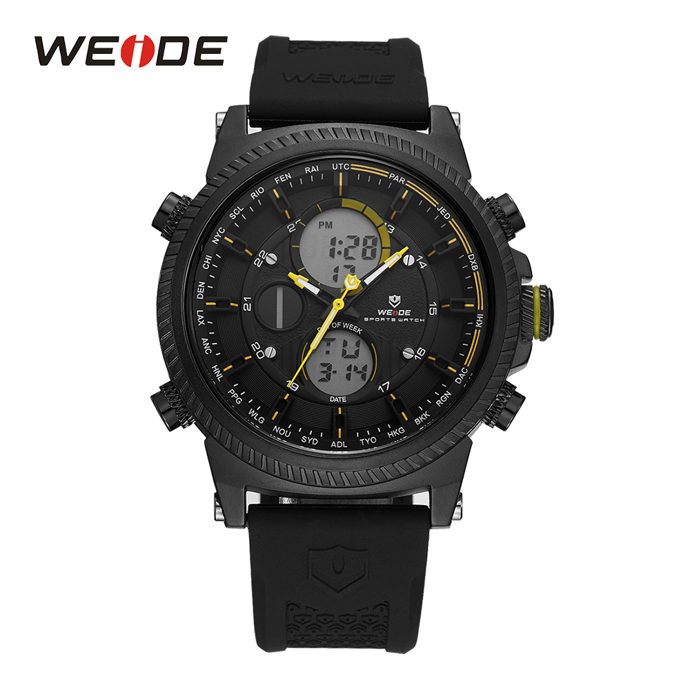 WEIDE Sport Men Digital Black And Yellow Backlight LCD Date Day Alarm Stopwatch Quartz Watches Silicone Band Outdoor Wristwatch