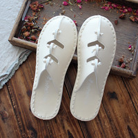 Literature And Art Simple White Shoes Shoes Slippers Baotou Slippers Female Korean Version Of The Retro