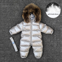 Jumpsuit Baby Rompers Winter Overalls Duck-Down Outerwear Girls Boys Children Real-Fur-Collar