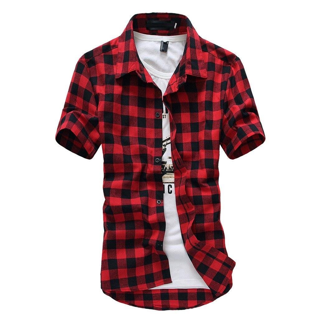Red And Black Plaid Shirt Men Shirts New Summer Fashion Chemise Homme Mens Checkered Shirts Short Sleeve Shirt Men Blouse W30708