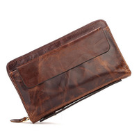 New Men's oil wax Real Leather Retro Clutch Wallet pocket Cash Wallet Business Clutch Bag DropShipping