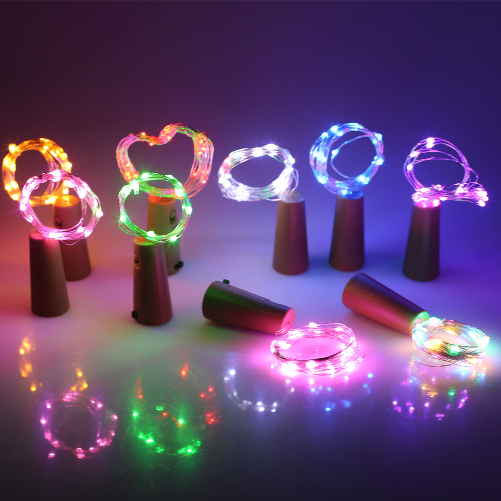 1X Colorful LED DIY Bottle String Lights Cork Shaped Bottle Stopper Light Glass For Halloween Xmas Party Wedding Home Decor