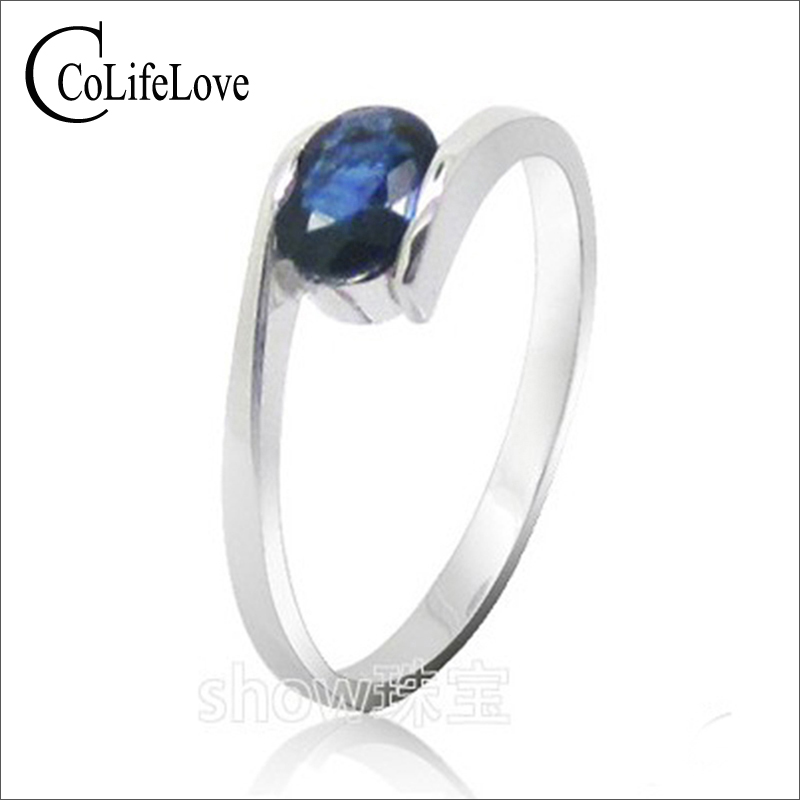 Hot sale fashion design silver sapphire rings for women solid 925 silver sapphire ring  0.5 ct natural sapphire gemstone