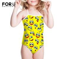 Smily amarelo Dos Desenhos Animados Design Bonito Crianças Fatos de banho Para As Meninas Um Pedaço Swimwear Maiô Crianças Maiô Roupas roupas