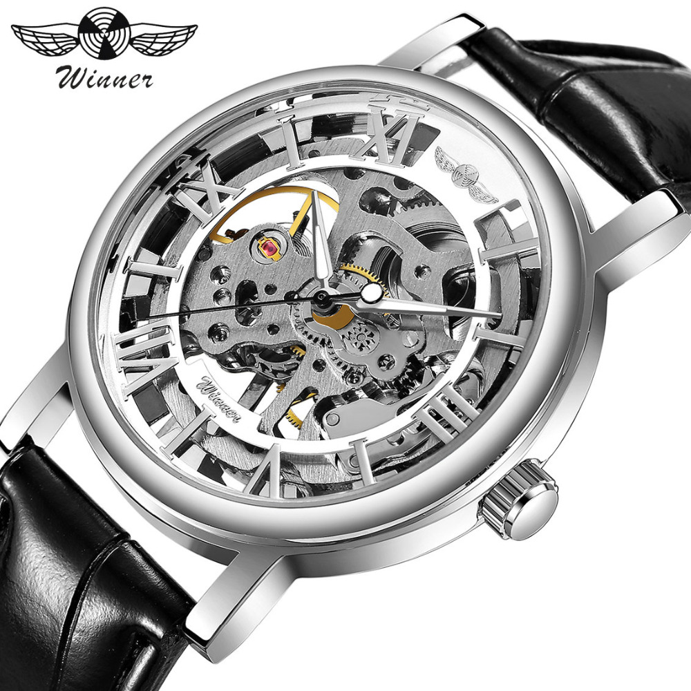 WINNER NEW Men Women Mechanical Watches Leather Strap Skeleton Semi-automatic Wrist Watches Top Luxury Lover's Clock +GIFT BOX winner watch fashion black leather strap skeleton luxury design clock men watches top luxury mechanical wristwatch gift