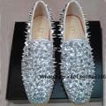 Mbt zapatos de 2017 Nuevos Zapatos de Los Hombres de Lujo Shinny Glitter Oro Plata Espigas de Punta Redonda Mocasines Resbalón-En Los Zapatos de Los Remaches Zapatos casuales