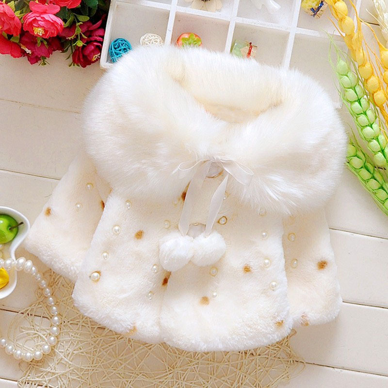 Winter Baby Girls Faux Fur Fleece Imitation Pearls Princess Outerwear Coat Lapel Collar Xmas Kids Infant Cloak Cape casaco