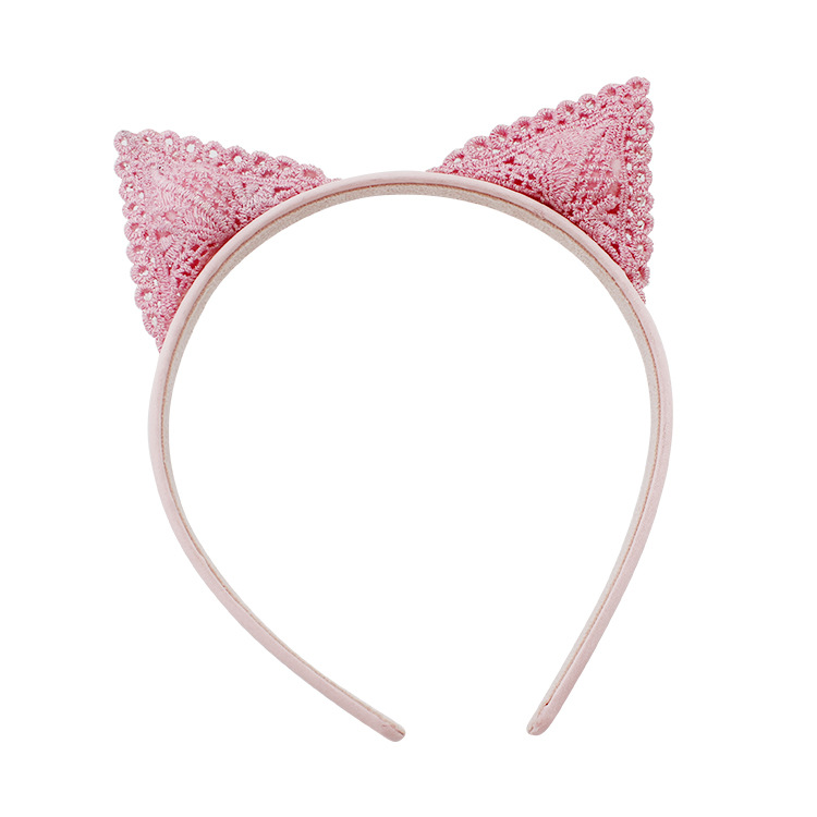 #70201 4pcs/set 3D Hair Accessories Free Shipping Weave Cat Ears Hairband Hair Clip Headband Pink Color