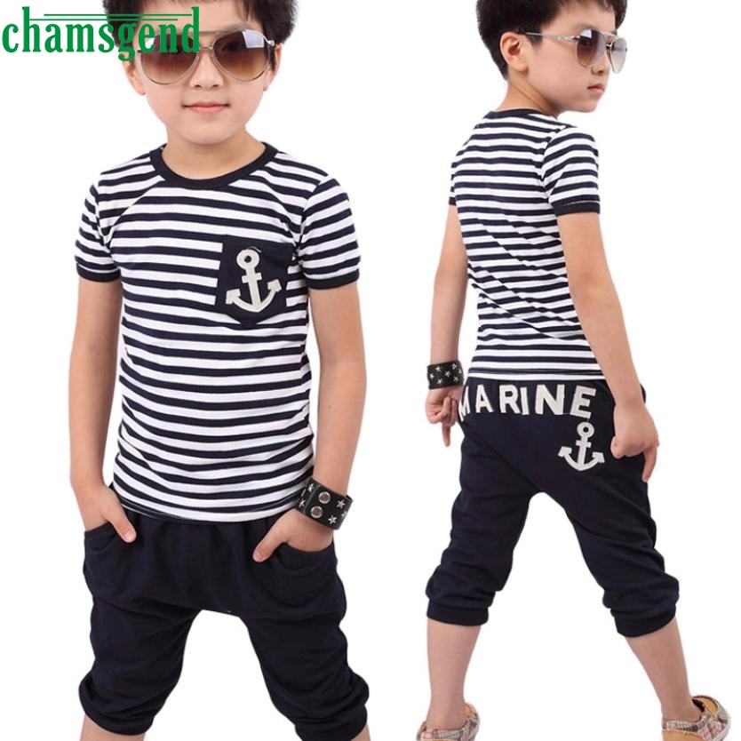 CHAMSGEND 2017 Summer T-Shirt Pants Set For Children Boy Cotton O Neck Striped Anchor Short Sleeve Clothes Costume  Mar1 family fashion summer tops 2015 clothers short sleeve t shirt stripe navy style shirt clothes for mother dad and children