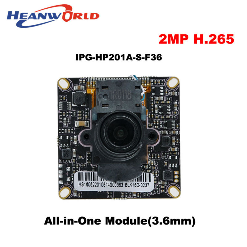 H.265 2.0Megapixel IP Camera Main board module CCTV chipboard Network Camera with 3.6mm lens IP Board for Security Surveillance