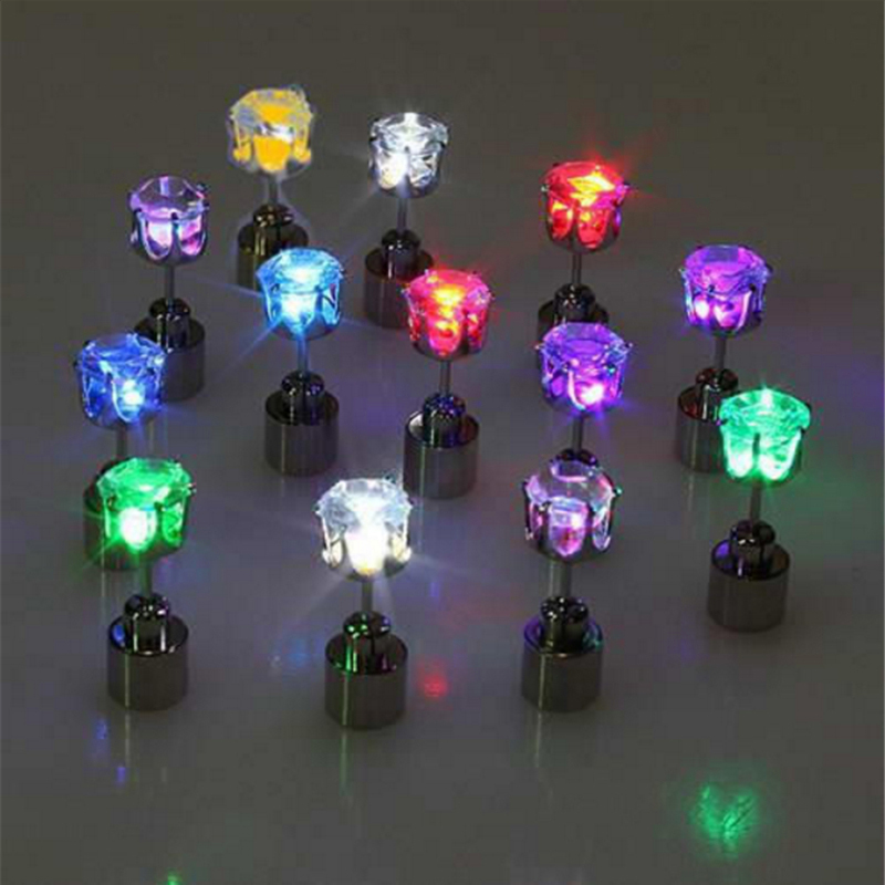 Quadurple 1 Pair Light Up LED Earring Crown Glowing Flashing Crystal Ear Stud Novelty Lighting Earring Jewelry Christmas Gifts ...
