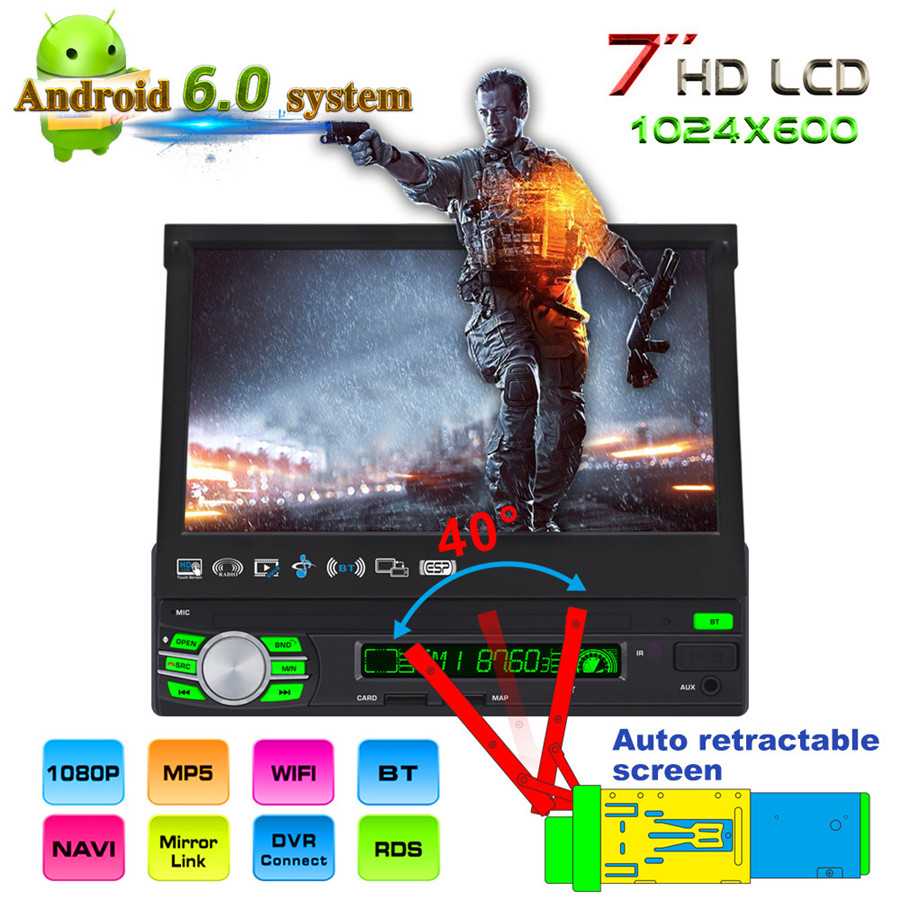 7 HD LCD Android 6.0 System Car Radio Car MP5 Player Auto GPS Navigation Multimeia Retractable Screen ROM16GB 1DIN image